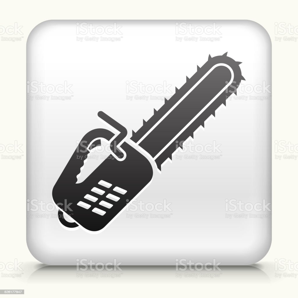 Square Button with Chainsaw royalty free vector art vector art illustration