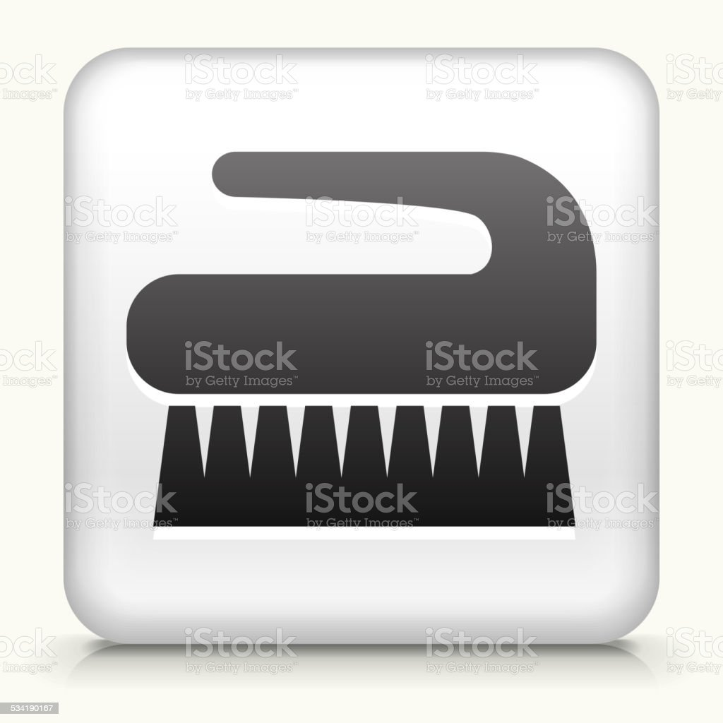 Square Button with Cleaning Brush royalty free vector art vector art illustration