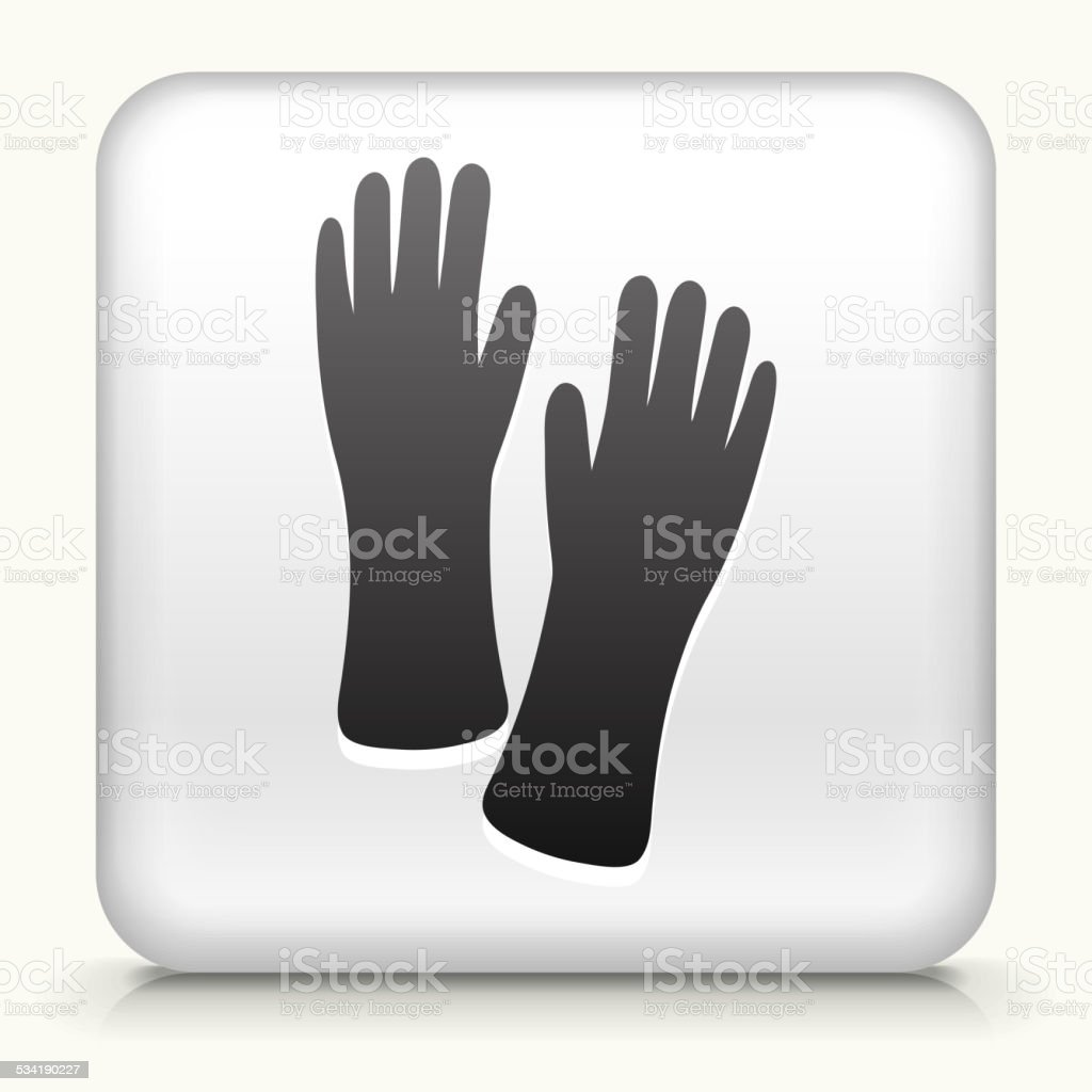 Square Button with Cleaning Gloves royalty free vector art vector art illustration