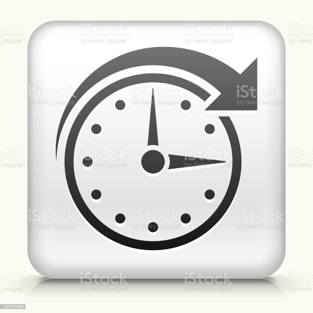 Square Button with Clock Time royalty free vector art vector art illustration