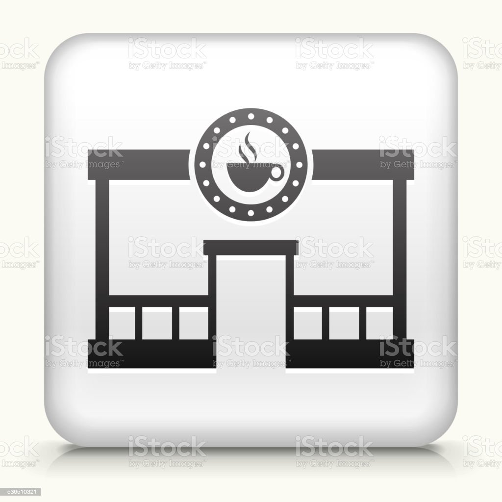 Square Button with Coffee Shop vector art illustration