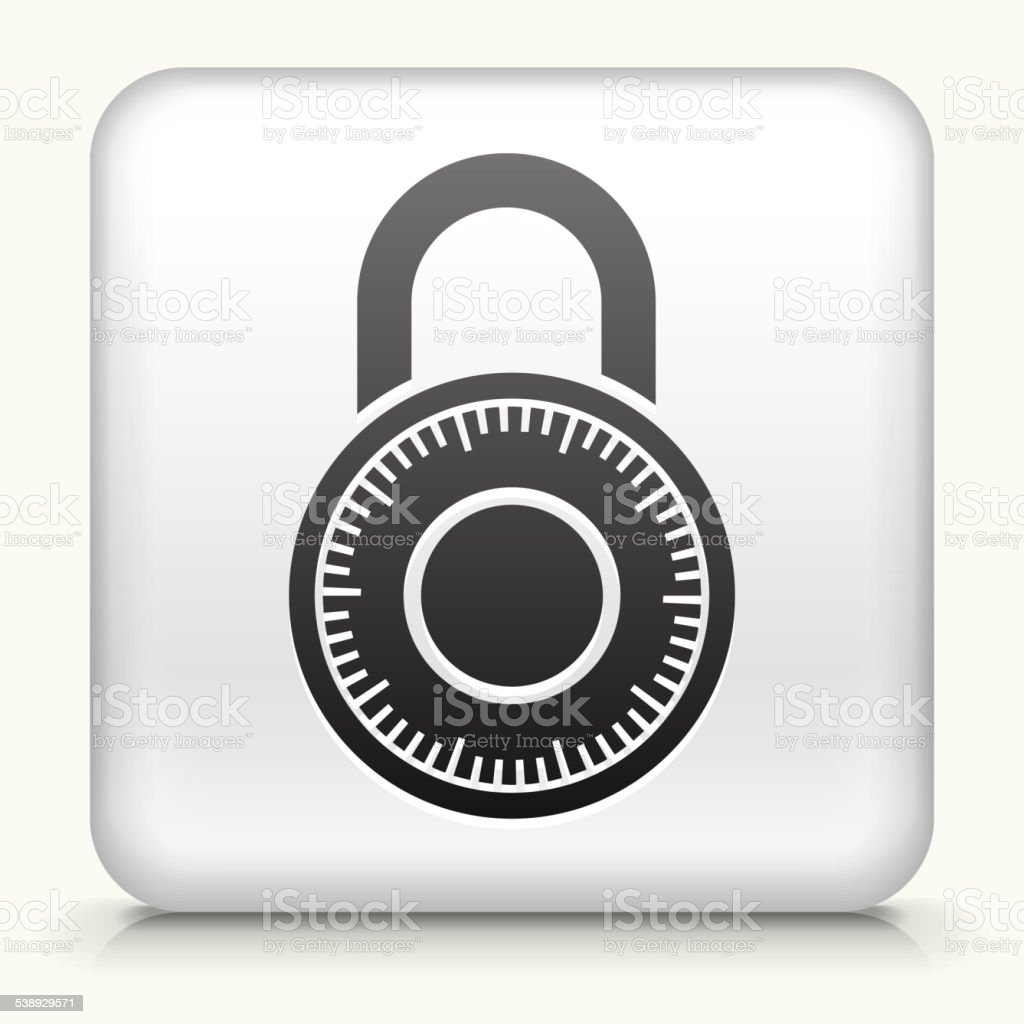 Square Button with Combination Lock vector art illustration