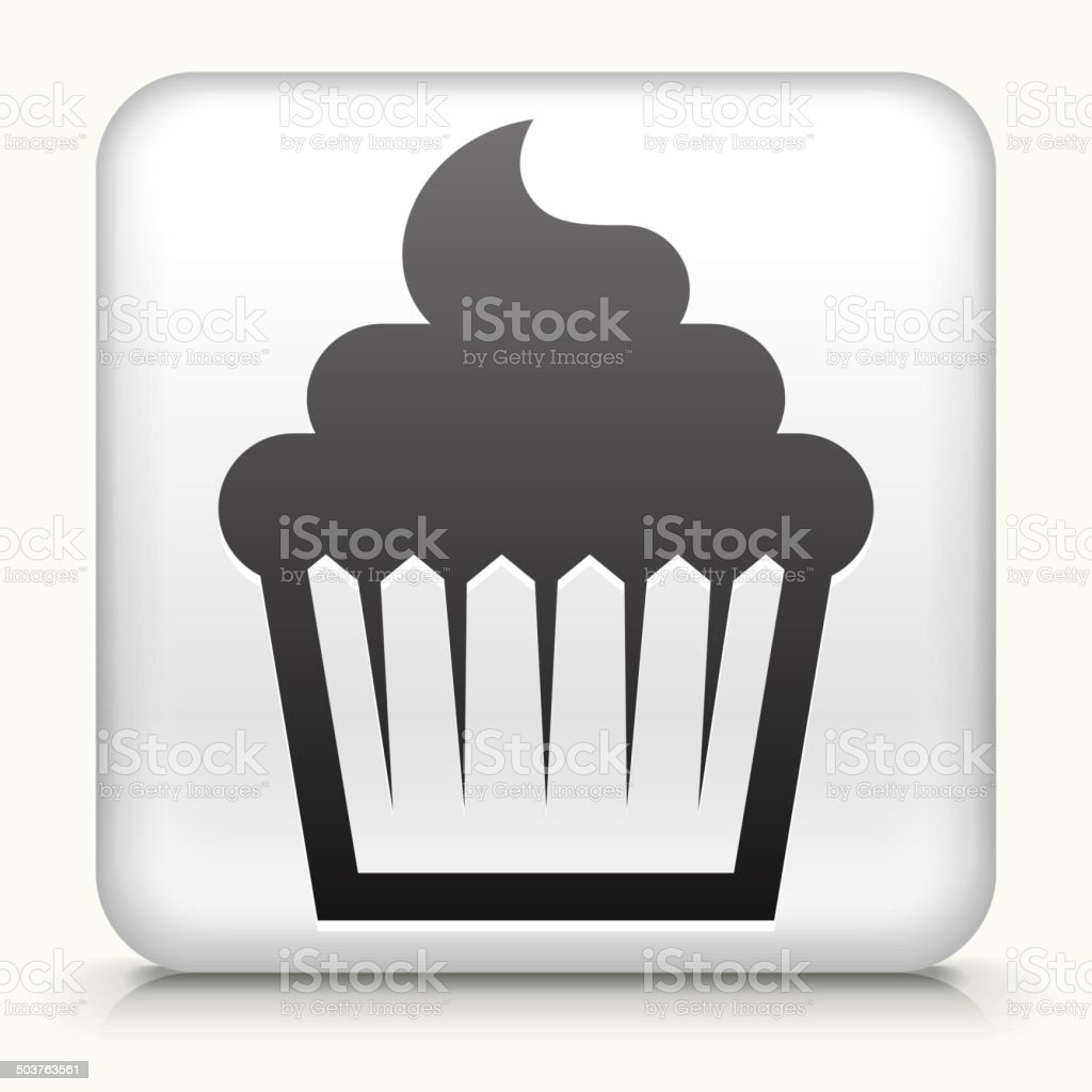 White Square Button with Cupcake Icon vector art illustration