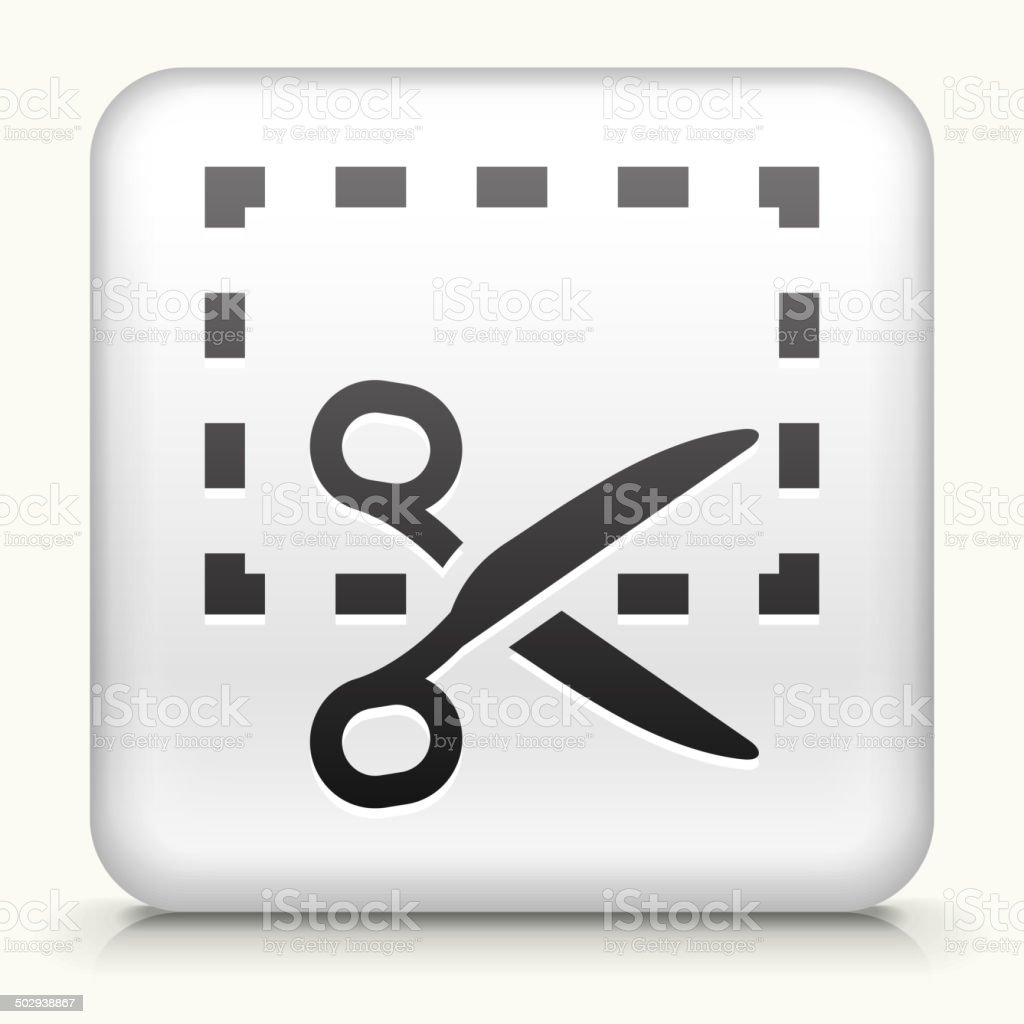 Square Button with Cut Out royalty free vector art vector art illustration