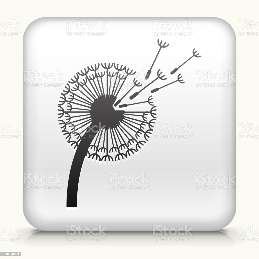 Square Button with Dandelion royalty free vector art vector art illustration