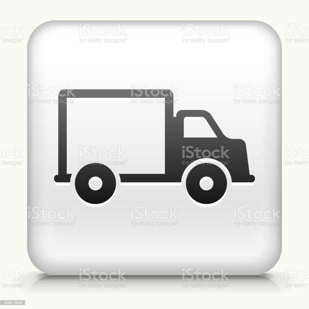 Square Button with Delivery Truck vector art illustration