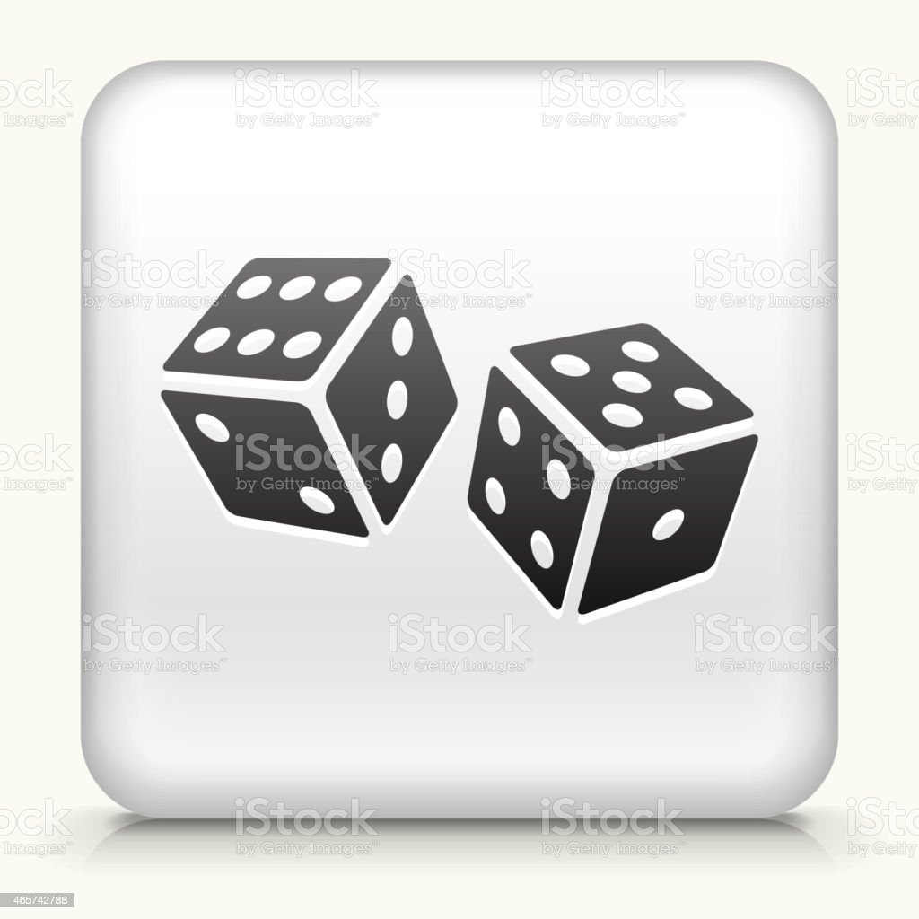 White Square Button with Dice Vector Icon vector art illustration