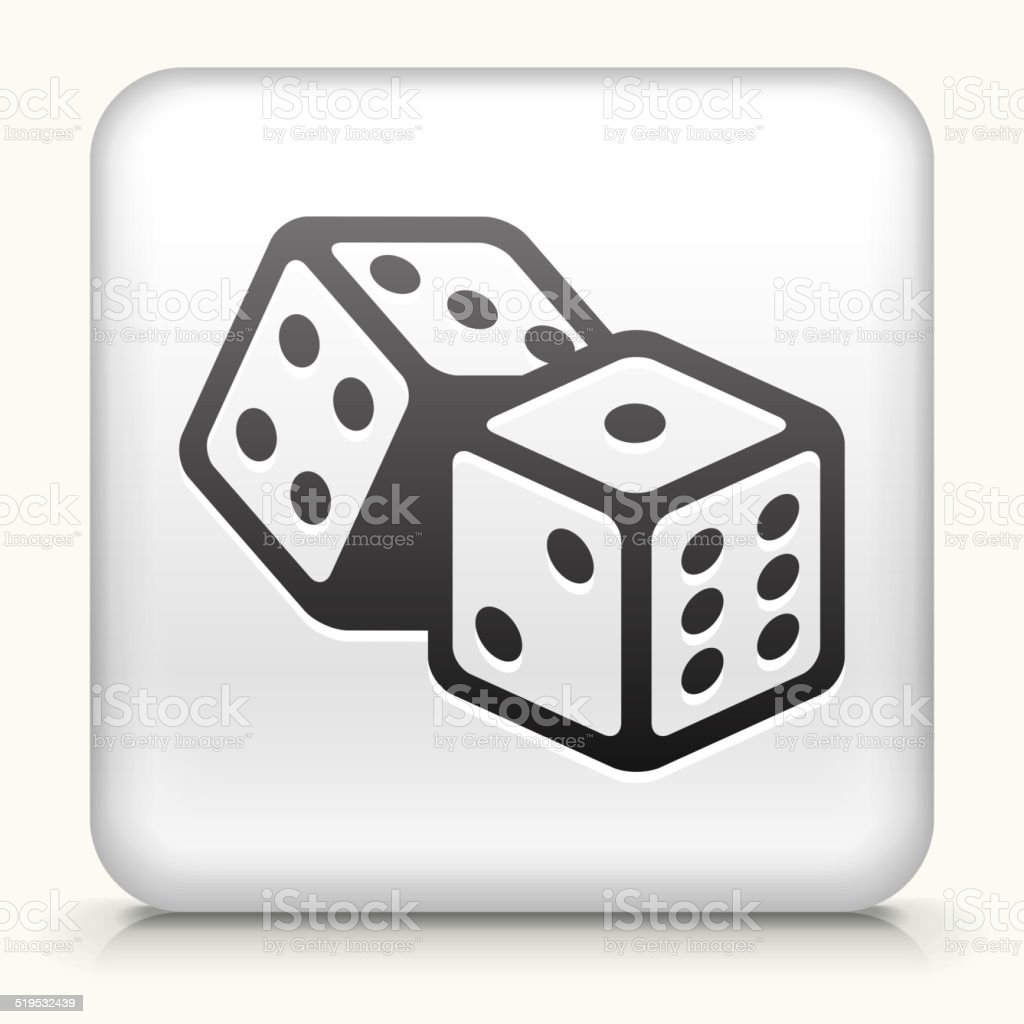 Square Button with Dice royalty free vector art vector art illustration