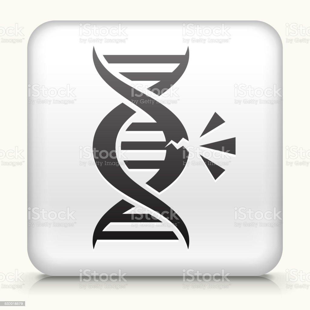 Square Button with DNA Break vector art illustration