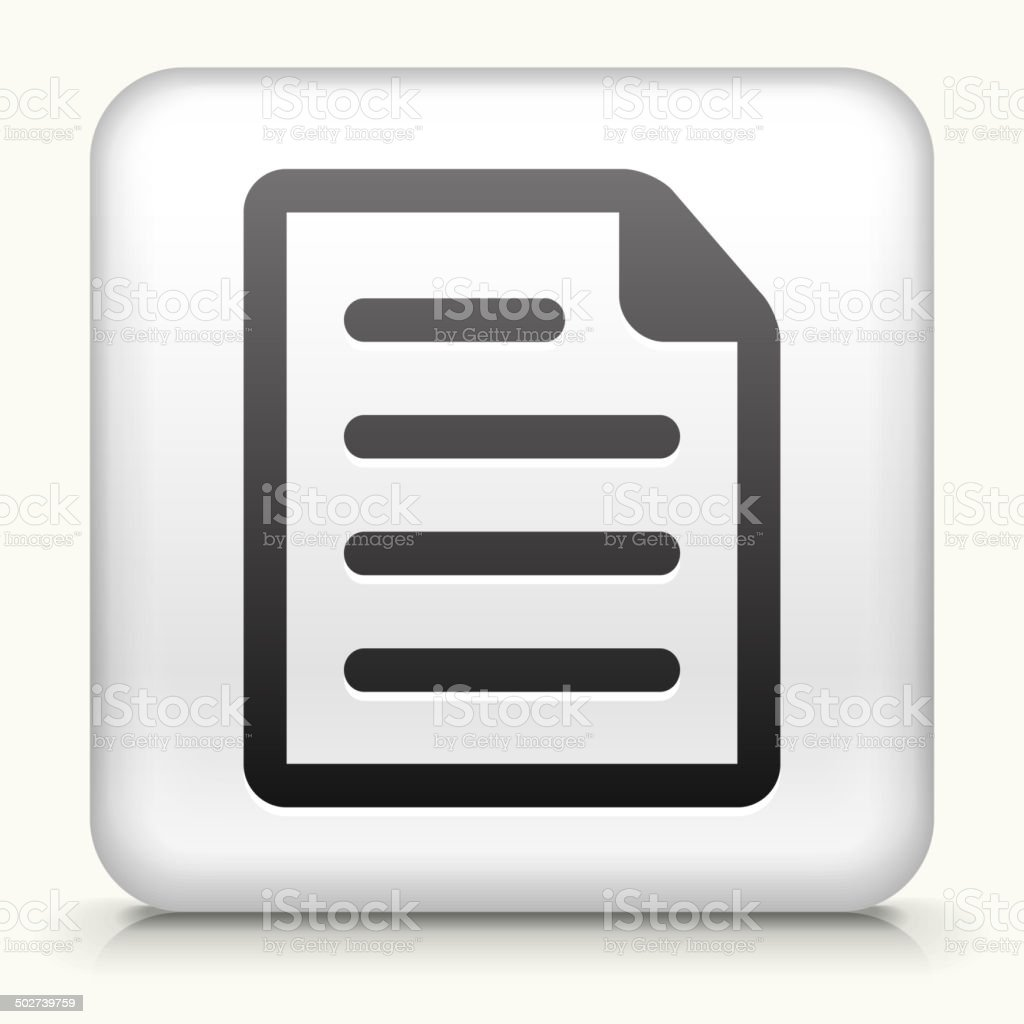 Square Button with Document royalty free vector art vector art illustration