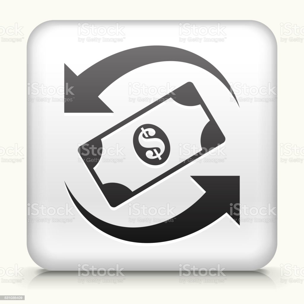 Square Button with Dollar Exchange royalty free vector art vector art illustration