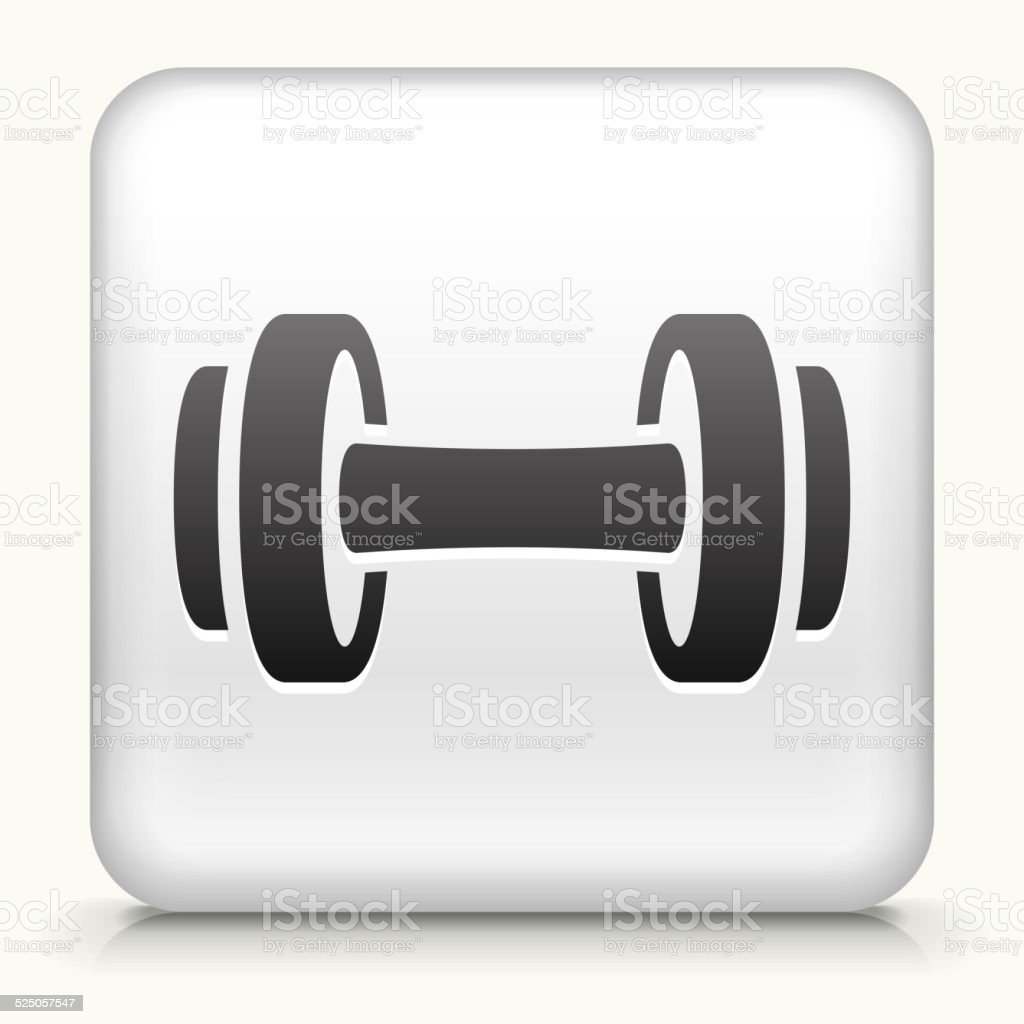 Square Button with Dumbbell royalty free vector art vector art illustration