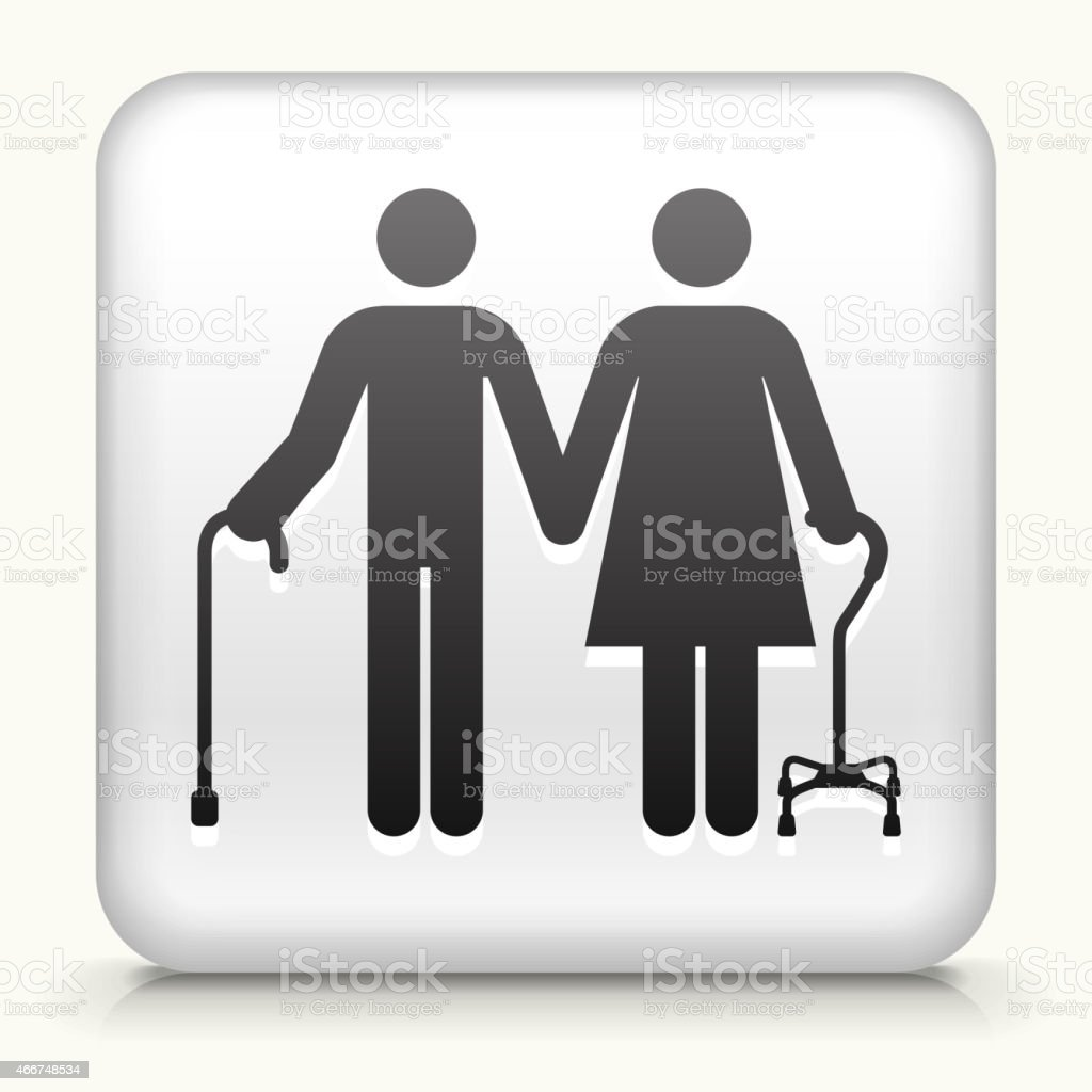 White Square Button with Elderly Couple Icon vector art illustration