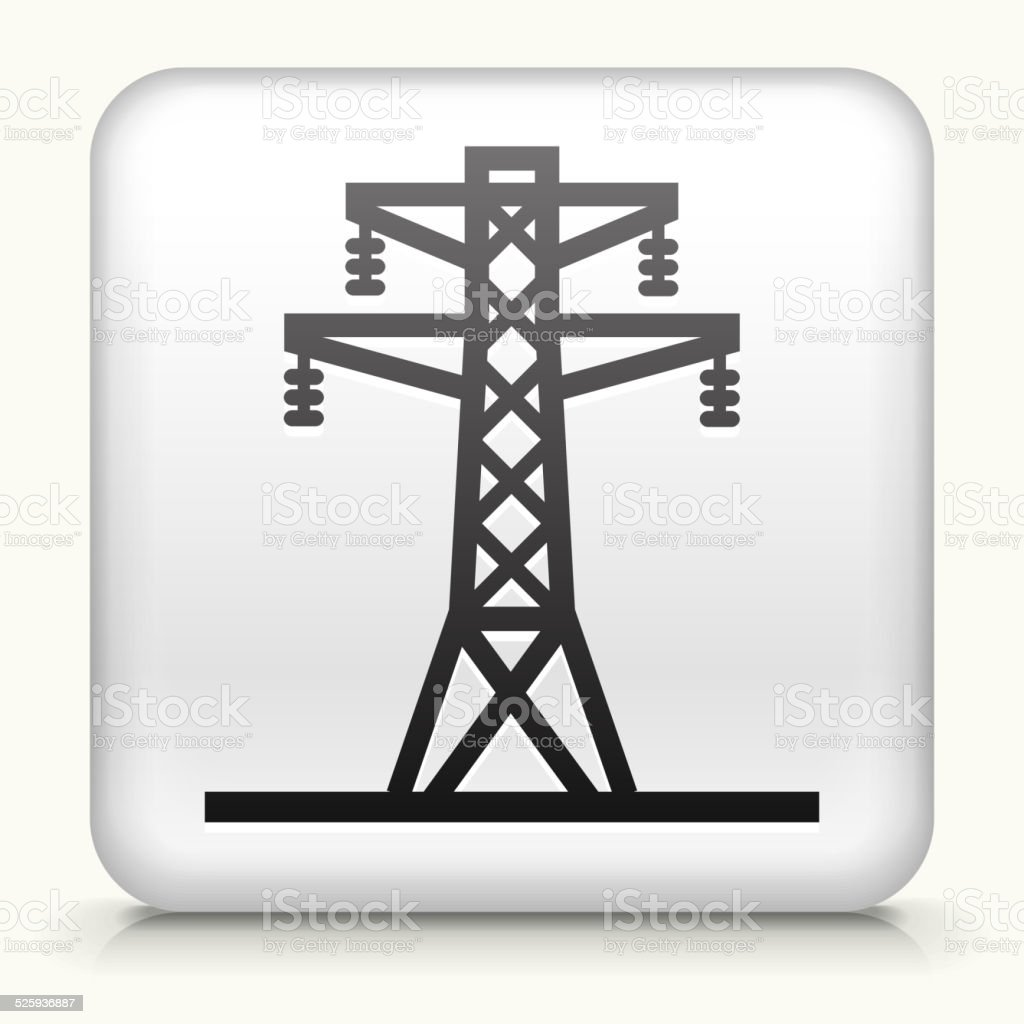 Square Button with Electric Tower vector art illustration