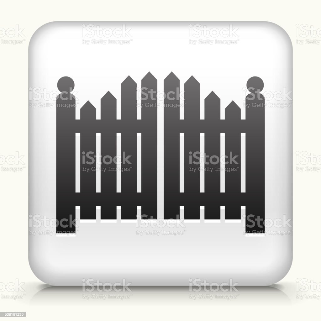 Square Button with Entrance Gate vector art illustration