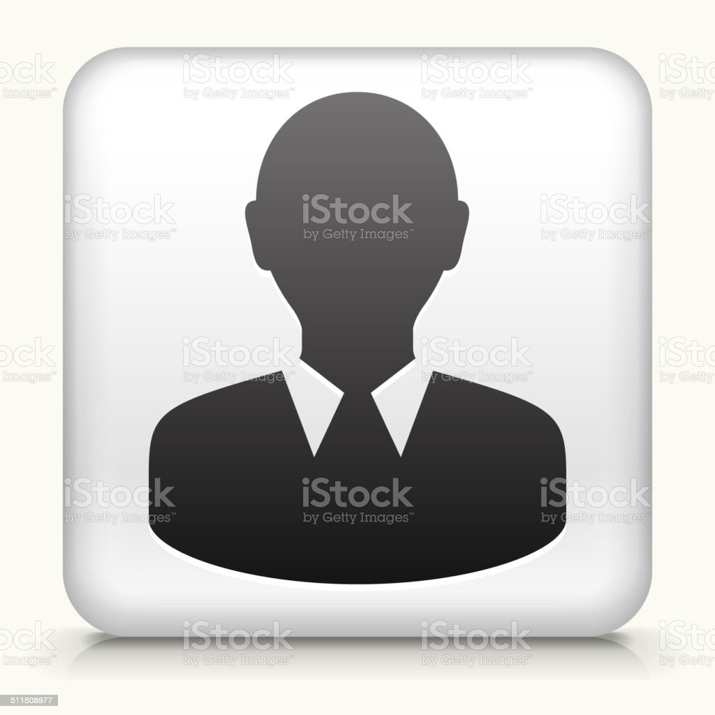 Square Button with Face vector art illustration