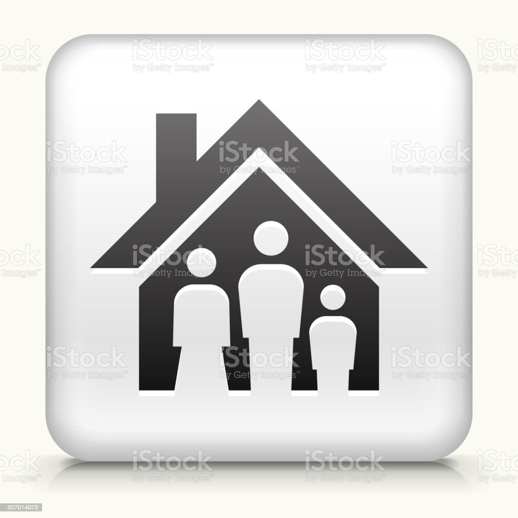 White Square Button with Family House vector art illustration