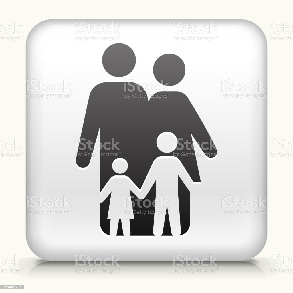 Square Button with Family royalty free vector art vector art illustration