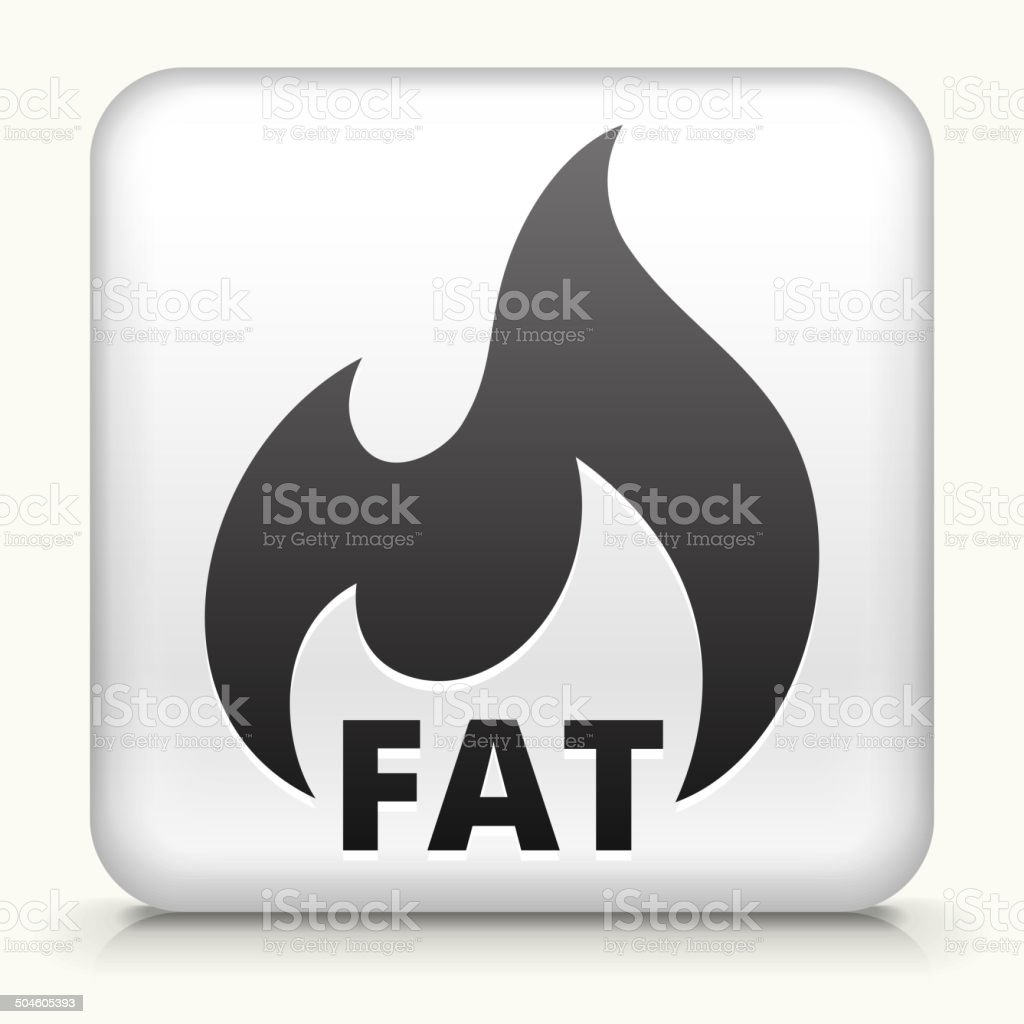 White Square Button with Fat Burning Icon vector art illustration