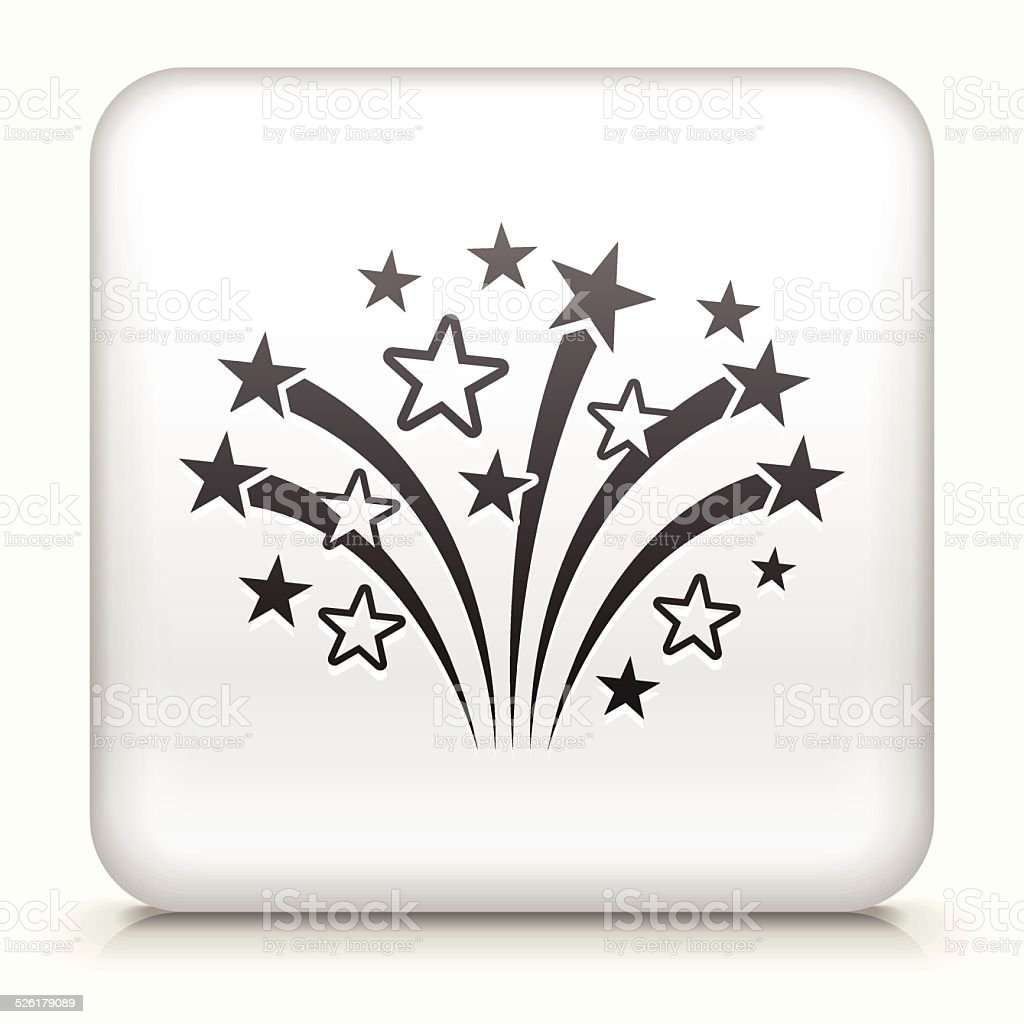 Square Button with Fireworks royalty free vector art vector art illustration