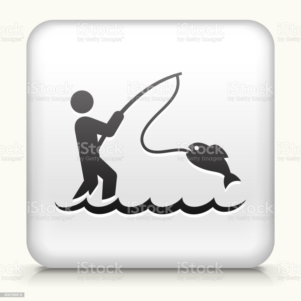 Square Button with Fishing royalty free vector art vector art illustration