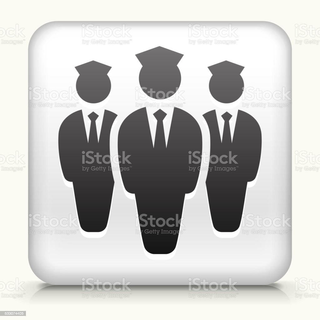 Square Button with Flight Attendants royalty free vector art vector art illustration