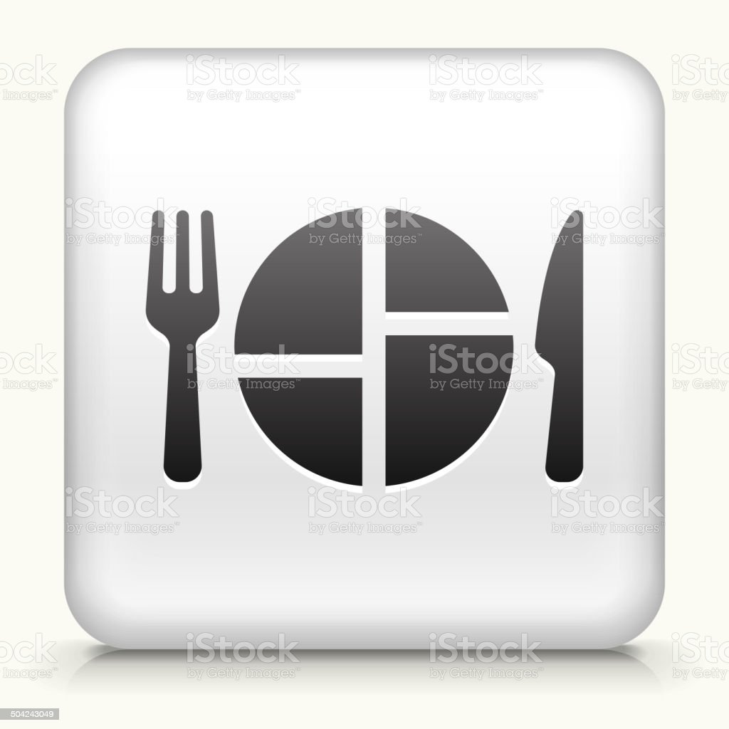 Square Button with Food Serving royalty free vector art vector art illustration