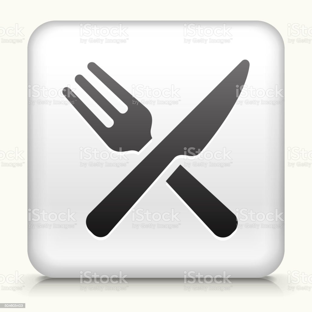 White Square Button with Food Utensils Icon vector art illustration