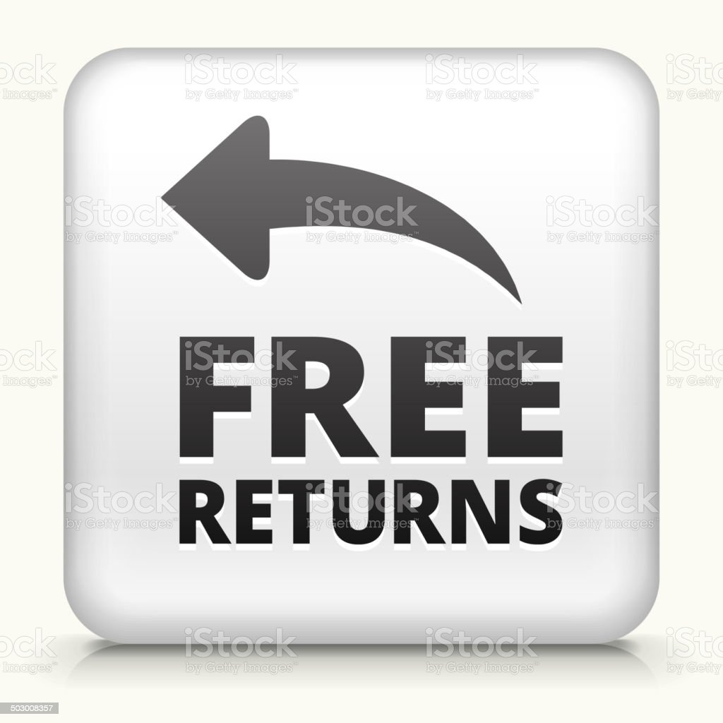 Square Button with Free Returns royalty free vector art vector art illustration