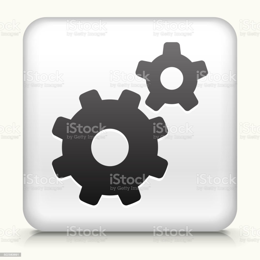 Square Button with Gears royalty free vector art vector art illustration