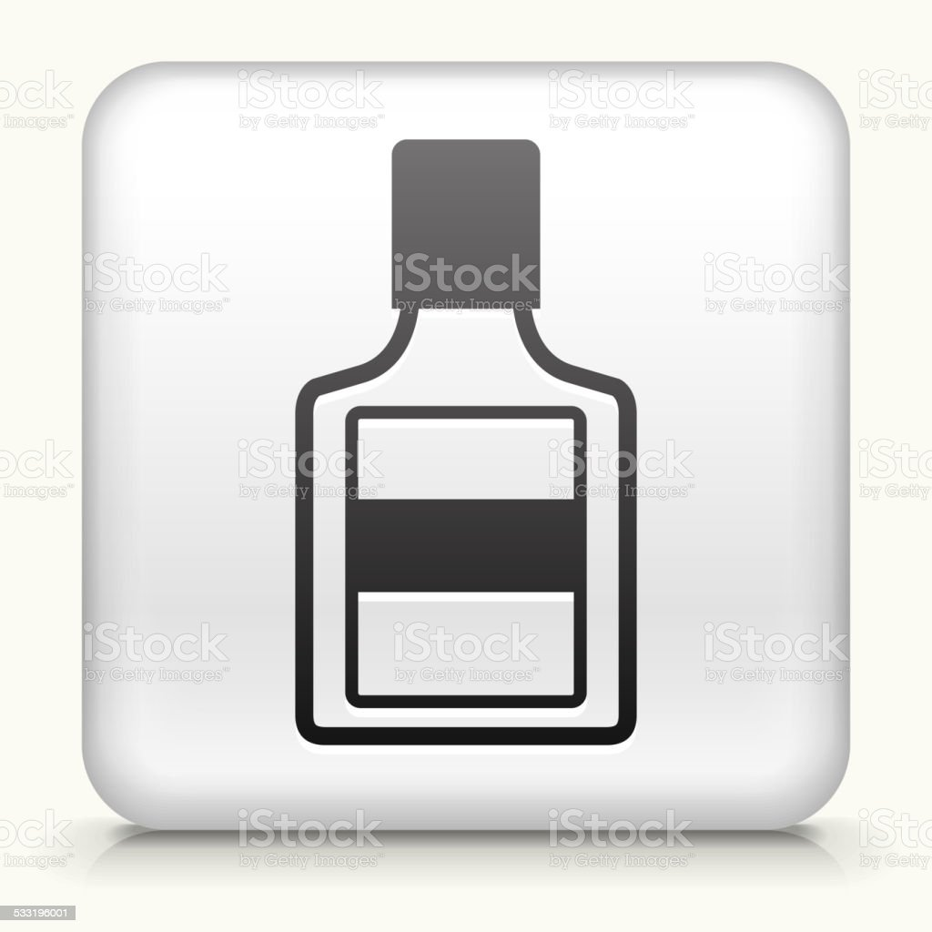 White Square Button with Glue Bottle vector art illustration