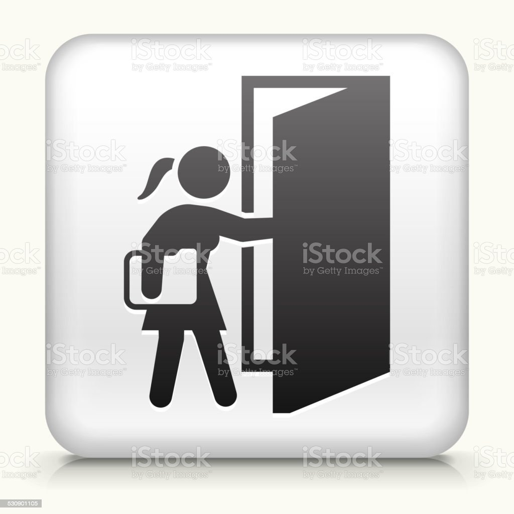 Square Button with Going to Work vector art illustration