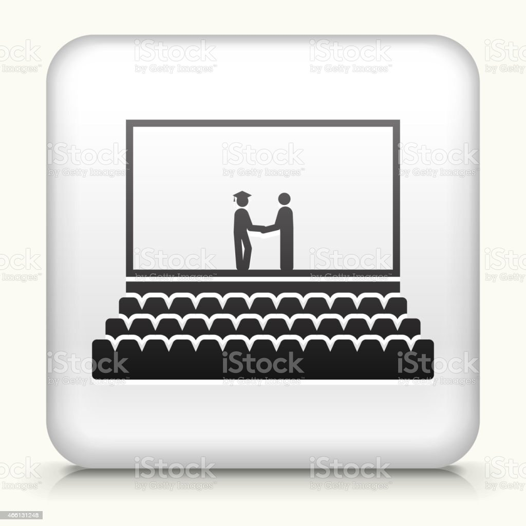 Square Button with Graduation royalty free vector art vector art illustration
