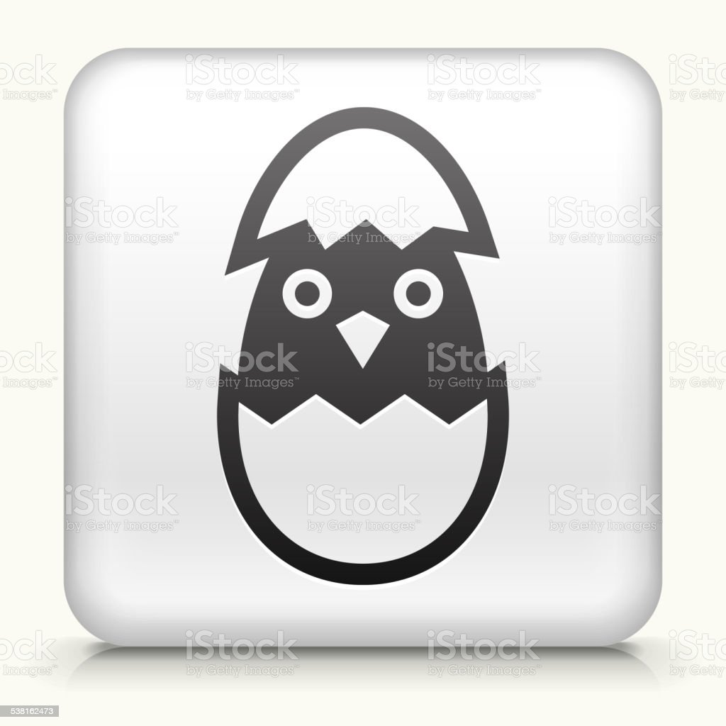Square Button with Hatching Bird vector art illustration