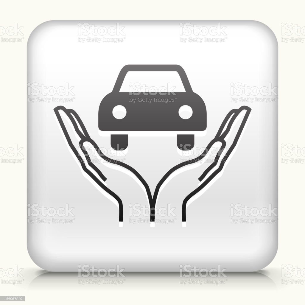 Square Button with Holding Car royalty free vector art vector art illustration