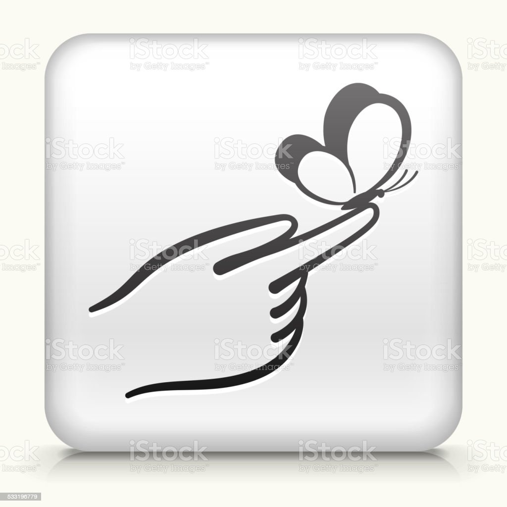 White Square Button with Holding vector art illustration