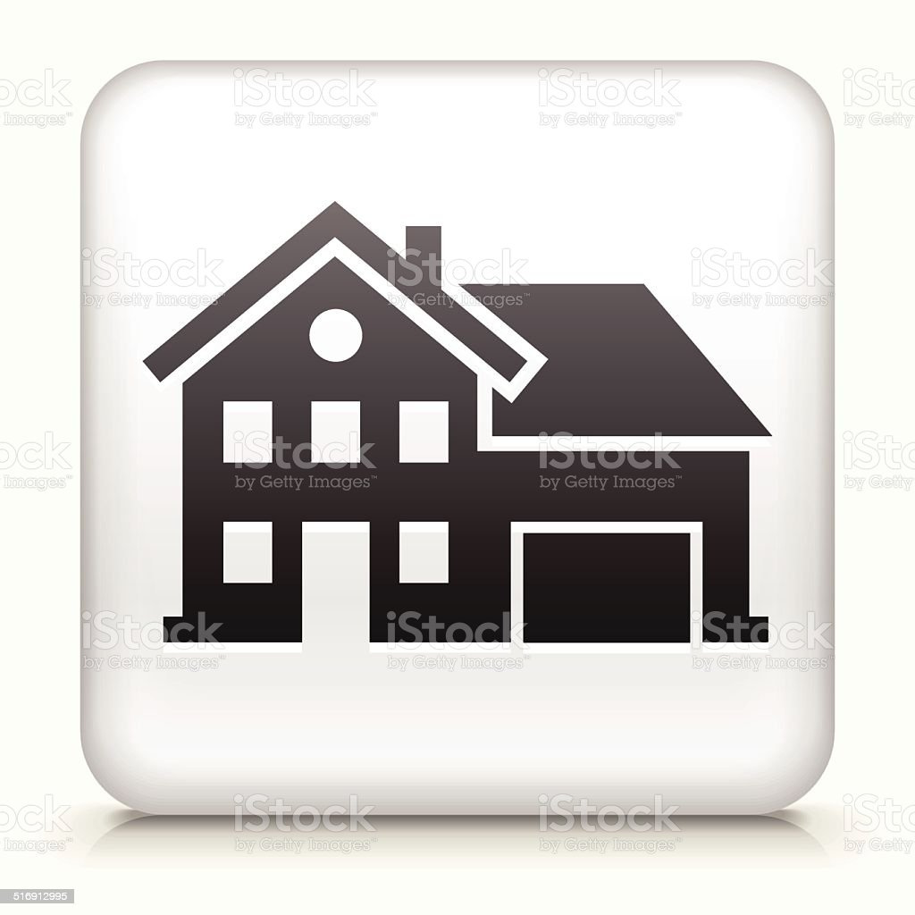 White Square Button with Home Icon vector art illustration