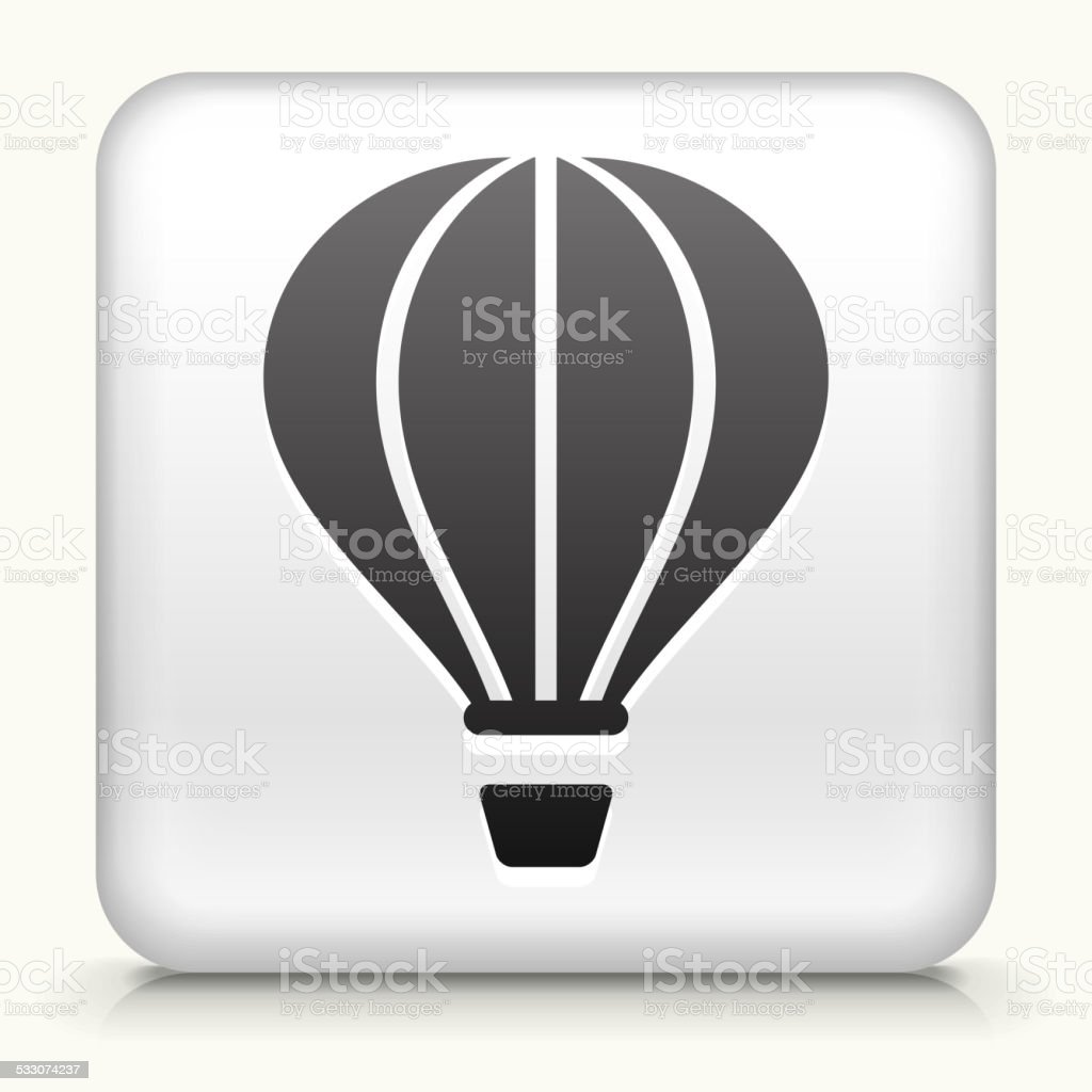 Square Button with Hot Air Balloon royalty free vector art vector art illustration