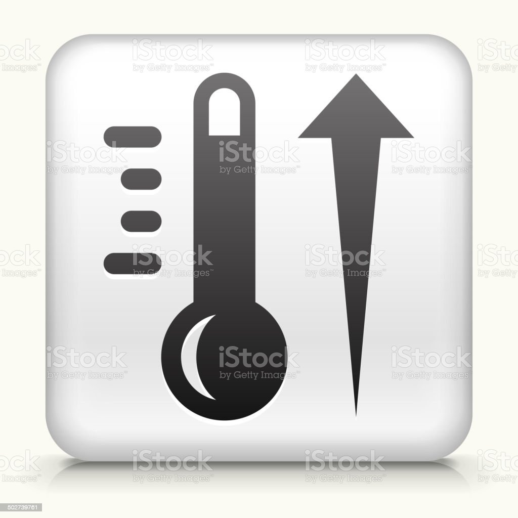 Square Button with Hot Thermometer royalty free vector art vector art illustration