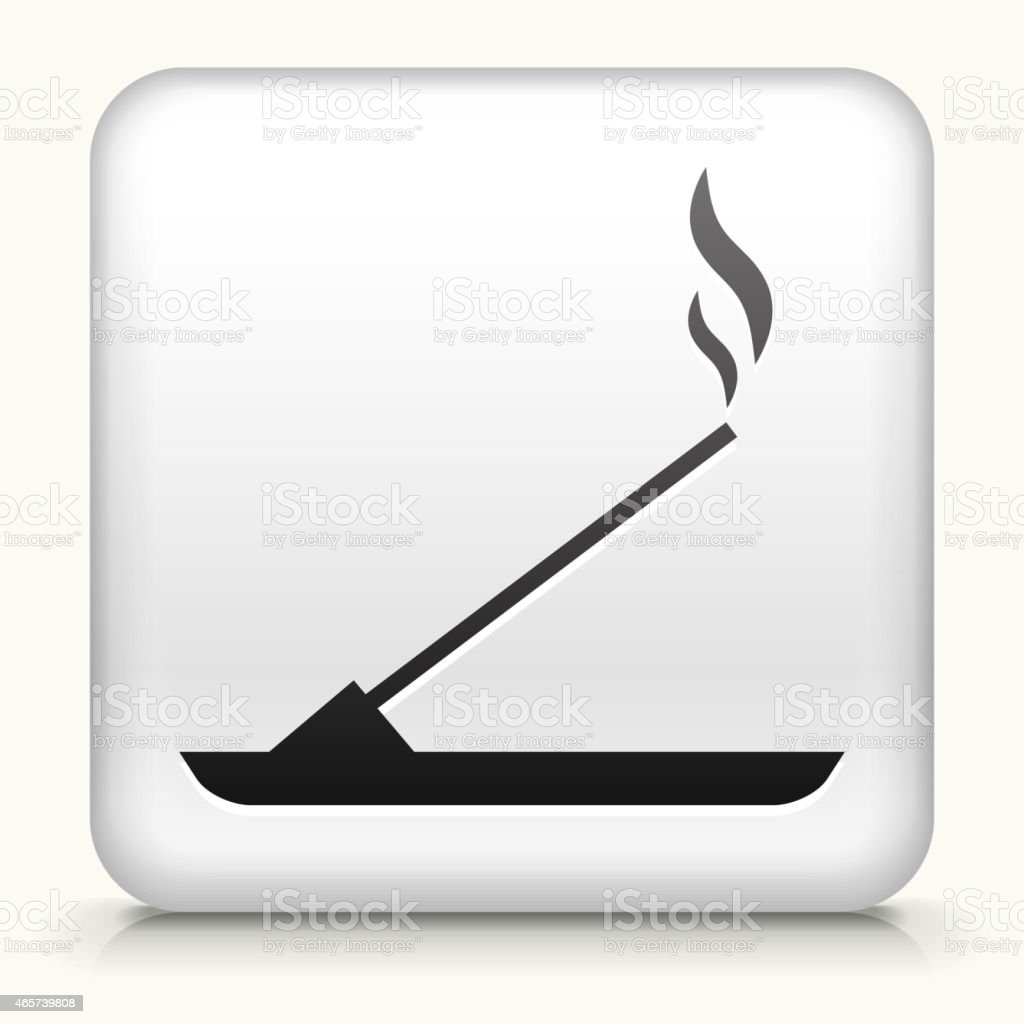 Square Button with Incense royalty free vector art vector art illustration