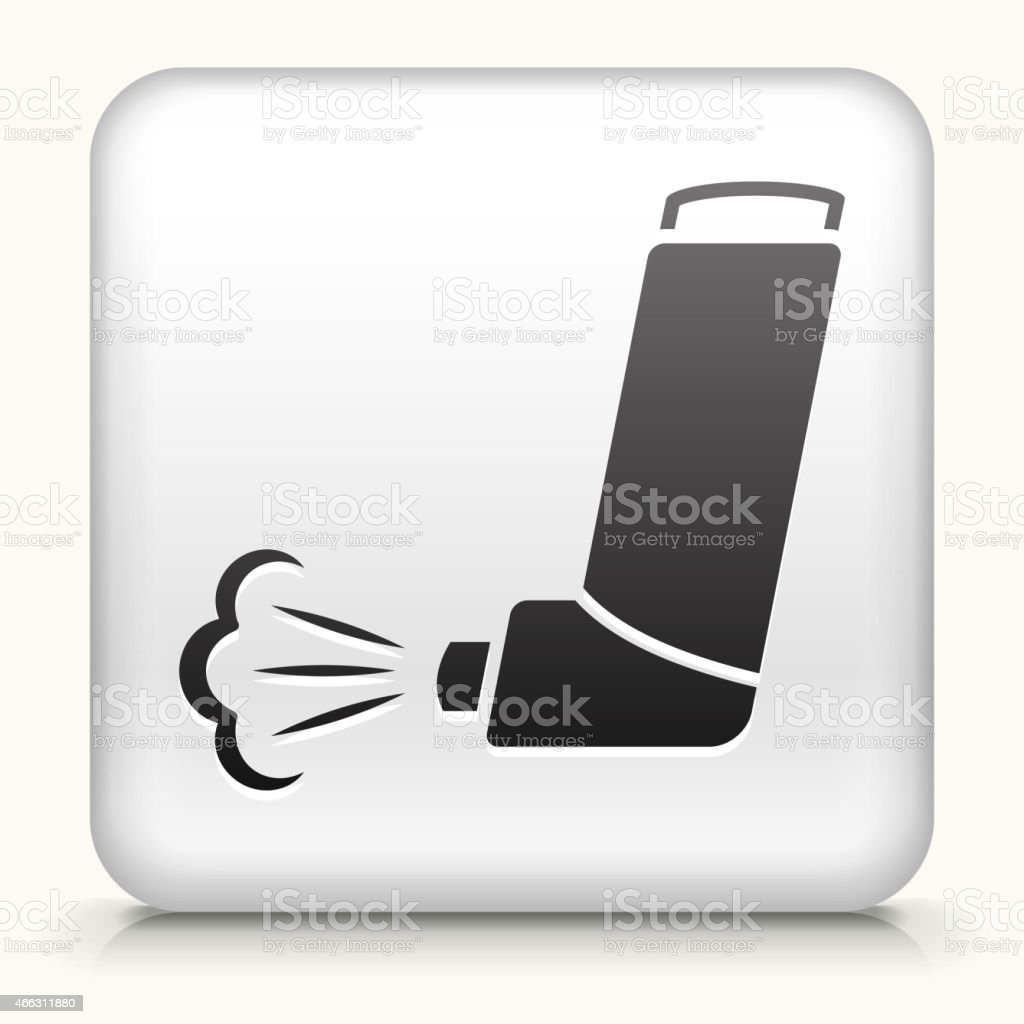 Square Button with Inhaler royalty free vector art vector art illustration