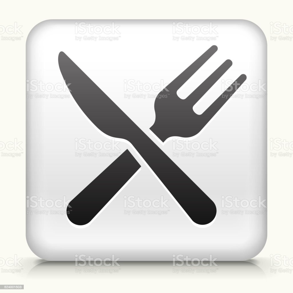 White Square Button with Kitchen Utensils vector art illustration