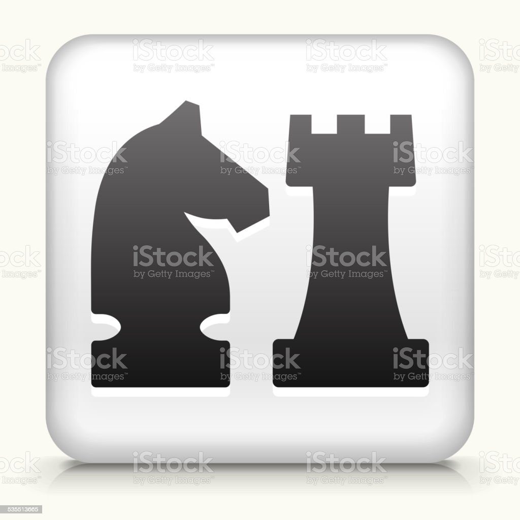 Square Button with Knight & Castle royalty free vector art vector art illustration