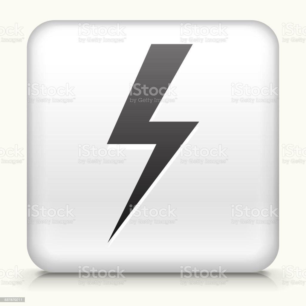 White Square Button with Lightning Bolt Icon vector art illustration