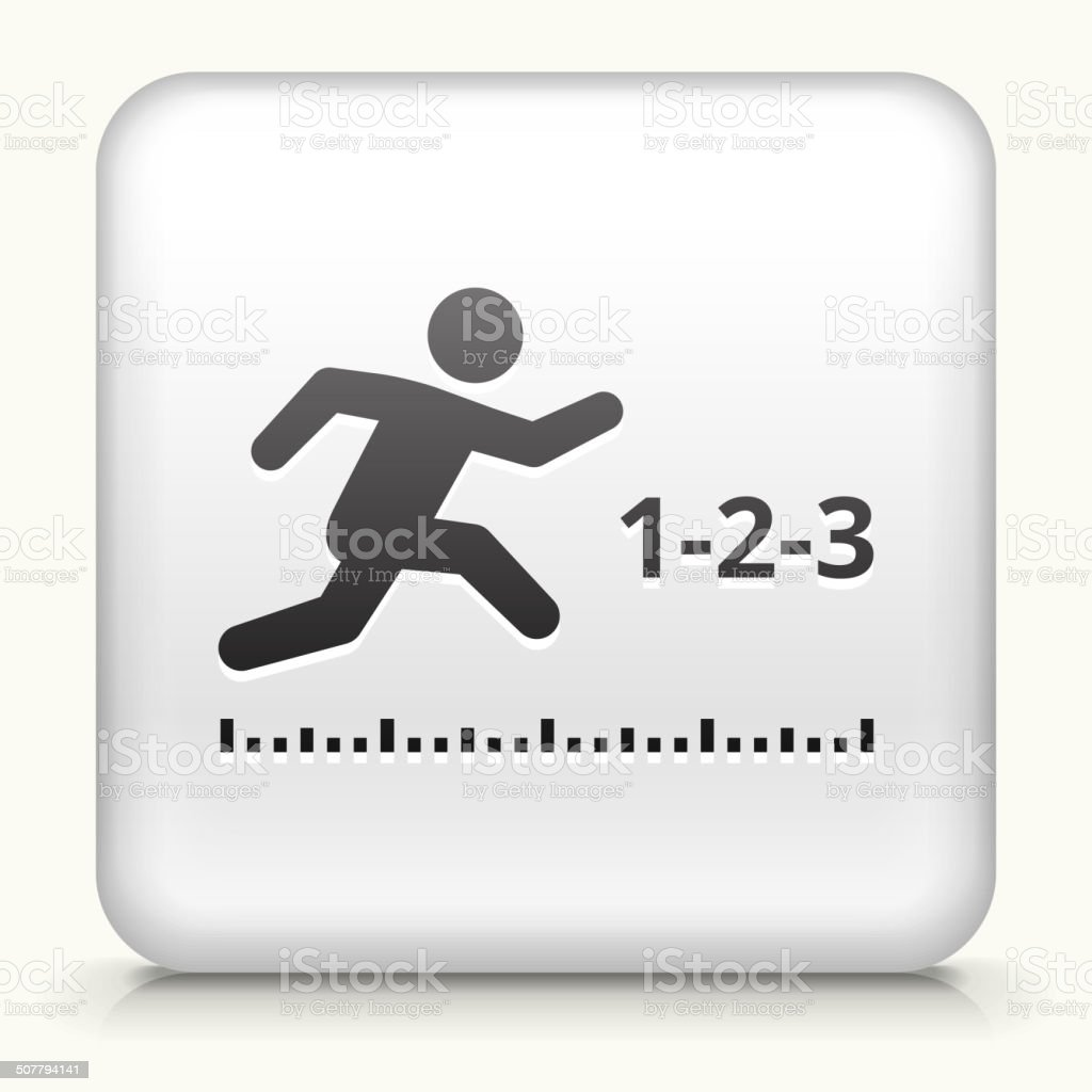 White Square Button with Long Jump Icon vector art illustration
