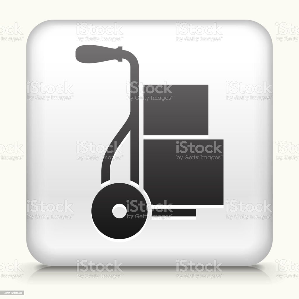 Square Button with Luggage Cart interface icon vector art illustration