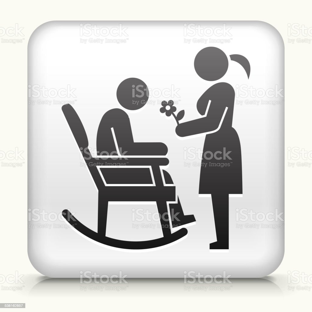Square Button with Man, Woman and Rocking Chair vector art illustration