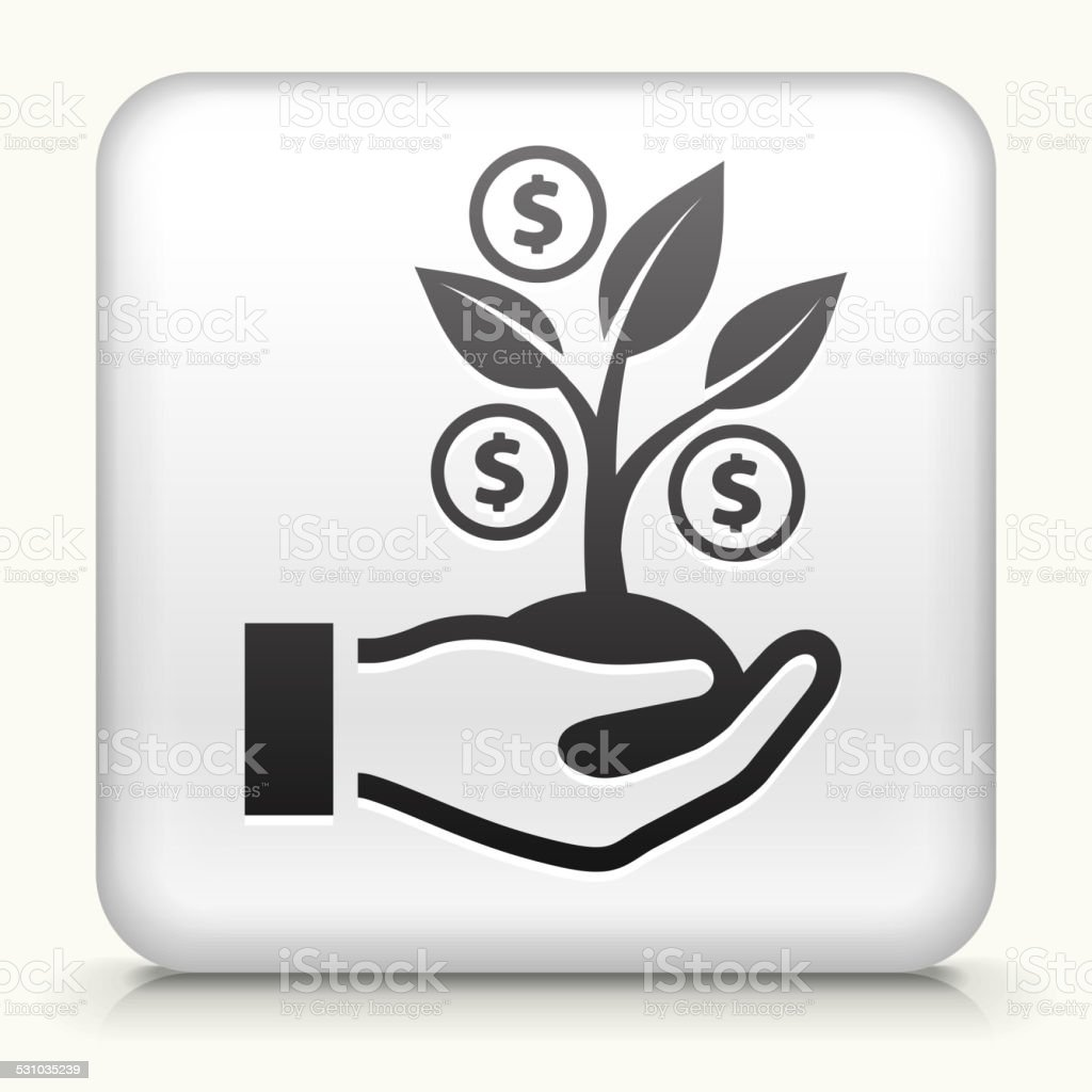 Square Button with Money Tree royalty free vector art vector art illustration