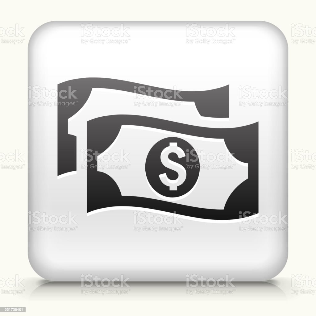 Square Button with Money vector art illustration