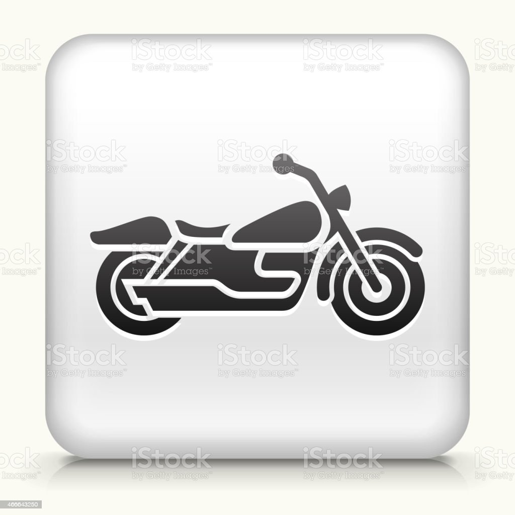 White Square Button with Motorcycle Icon vector art illustration
